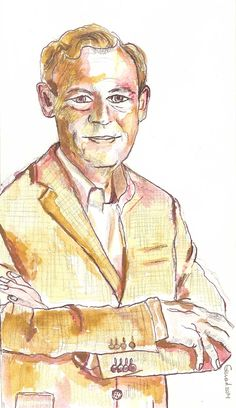 ANWB director portrait in pencil and ink by Gerard Beekman