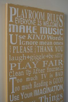 Playroom rules... change to classroom rules?