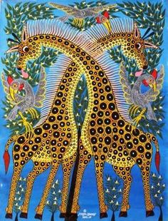 Beautiful example of Tinga Tinga art from Tanzania.   The art form was founded by Edward Tingatinga in the late 1960s and has been carried on by other East African artists.  How can you not be happy when you see images like this?