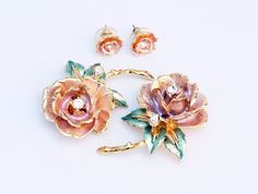 In #CherryOrchardAttic on #eBay Graziano England's Rose Princess Diana Earrings Brooch Set    #jewelry #giftsforher #Grazianojewelry #roses #mothersday #PrincessDiana #Englandsrose #England #Royalty #pink #roseearrings #rosepin