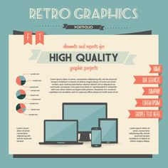 Free vector illustration of Retro style portfolio website template infographic design elements with report pie chart and menu button Web Design, Retro Design, Graphic Design Art, Design Resume, Print Design, Graphic Projects, Retro Vector, Free Infographic, Infographic Templates
