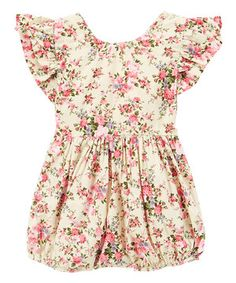 Love this Cream & Rose Floral Bubble Romper - Infant & Toddler by Just Couture on #zulily! #zulilyfinds