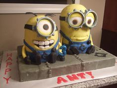 Through Fuchsia-Colored Glasses: Adventures in Caking: The Making of the Minion Cake