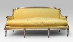 Love the color and shape. Louis XVI salon (yellow sofa and floral chairs)