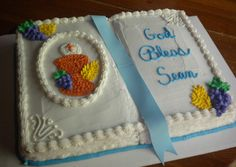 first communion cakes for boys | open bible cake for a boy — First Communion