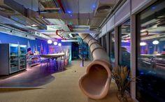 #interior #design #office #workspace #job #slide #unique #colours #neon #fluorescent