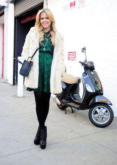 New York Fashion Week: Jade dress, black tights and a cream coat