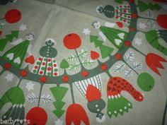 Vintage small Christmas table cloth / fabric : trees, angels, apples, hearts..
