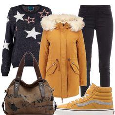 Maglione nero multicolor, jeggings nero, parka rubber, sneackers alte amber gold, borsa a tracolla color cachi, outfit adatto per le lunghe giornate universitarie.