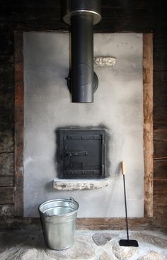 wood burning stove in rustic Swiss house