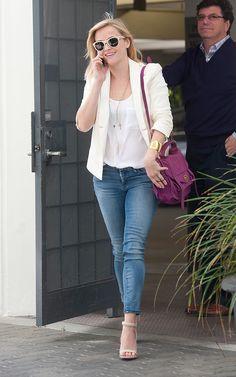 Reese Witherspoon  Koral jeans, Proenza Schouler bag, Alexander Wang shoes, Rag & Bone sunglasses