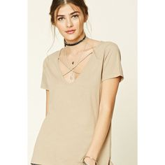 Forever21 Crisscross-Front Tee ($9.90) ❤ liked on Polyvore featuring tops, t-shirts, taupe, criss cross top, v neck tee, forever 21, v-neck tee and short sleeve t shirts
