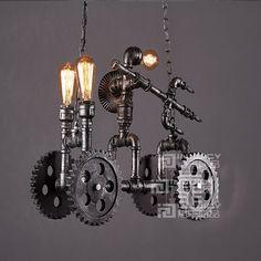 318.00$  Buy now - http://alinyr.worldwells.pw/go.php?t=32762561758 - Vintage Led Industrial Bike Droplight Bedroom Dining Home Loft Pendant Lamp Store Pendant Light Fixtures Bar Cafe Lighting Decor 318.00$