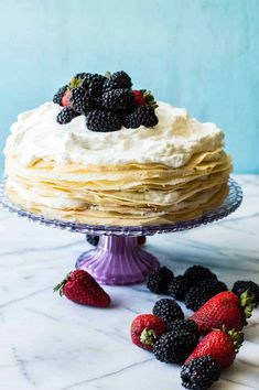 A whipped lemon mascarpone cream filling is layered with lightly sweetened crepes for a perfect dessert or brunch recipe!! Topped with lemon curd whipped cream and fresh berries! Treat Yourself! Subscribe today and receive aFREEE-Cookbook and weekly recipes to your inbox!Sign uphere!Follow me onFacebookandInstagramtoo! PIN IT NOW! Lemon Cream Crepe Cake. Mhmm. I'm getting all...Read More