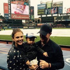 Pin for Later: Sexy Star Stephen Amell Is the Cutest Dad to His Adorable Daughter  The group was all smiles when they took their daughter to her first Blue Jays game in June 2015.
