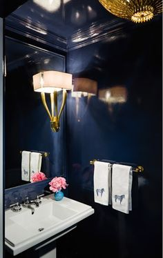 The Glam Pad: At Home With Shelley Johnstone Paschke blue lacquer walls powder room Ruhlmann sconce Circa Lighting Hampton Pendant