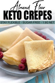 These tender almond flour crepes are miraculous, staying flexible for days! They are great for sweet or savory recipes, and are perfect for all of your sugar-free fillings. We love them smeared with a little peanut butter or keto nutella. Keto Friendly Desserts, Low Carb Desserts, Low Carb Recipes, Diet Recipes, Cooking Recipes, Cooking Tips, Diet Meals, Healthy Recipes, Sausage Recipes