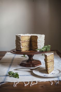 rosemary corn cake with honey & brown butter