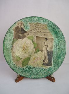 """Wooden plate """"White roses and memories,"""" decoupage, vintage with cracks, marble background"""