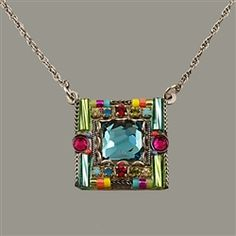 Firefly Signature Square Crystal Necklace.    A lot of color in a tiny necklace!