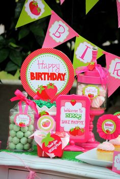 Sweets at a strawberry birthday party! See more party ideas at CatchMyParty.com!