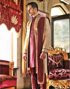 Vanshik Beige Silk Embroidered Indo Western Sherwani