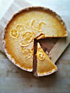 meyer lemon honey tart w/ salted shortbread crust