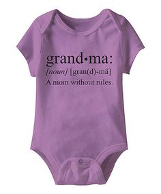 Another great find on #zulily! Lavender 'Grandma: A Mom Without Rules' Bodysuit - Infant #zulilyfinds