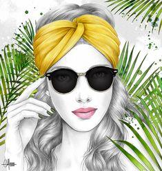 Atol Bastille, Cat Eye Sunglasses, Round Sunglasses, Paulette Magazine, Happy July, Portraits, Pencil Portrait, Pencil Drawings, Marie