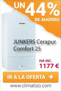 Oferta de la caldera de condensación JUNKERS Cerapur comfor 25 por 1177 € IVA inlcuido. Precio mínimo garantizado.