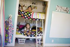 """bunk beds in the closet! perfect space saver.. and how fun! So we can have 4 kids in our tiny house...hahahaha"" lol i think pat would appreciate this"