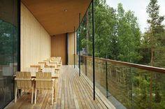Wooden furniture/Nikari Nature Center, Wooden Furniture, Scandinavian, Deck, Restaurant, Outdoor Decor, Room, Home Decor, Summer