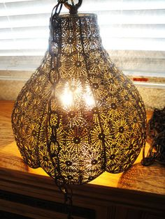 Awesome Pierced Brass Filigree Moroccan Hollywood Regency Vintage Swag Lamp | eBay