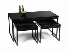 Amazon.com: Convenience Concepts 171025 3-Piece Glass Coffee and End Table Set, Black: Home & Kitchen