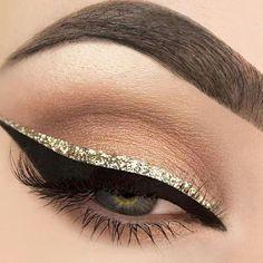 Makeup - Neutral Light & Dark Brown Eyeshadow with Sparkly Gold Glitter & Black Liquid Eyeliner & Mascara