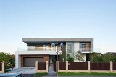 Modern lakóház léckerítéssel - homlokzat ötletek, modern stílusban