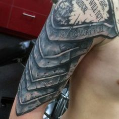 Discover the top 93 best armor tattoo designs featuring plate armor to shields, gauntlets and more. Explore ink ideas suited for the battlefields. Armor Sleeve Tattoo, Shoulder Sleeve Tattoos, Armour Tattoo, Shoulder Armor Tattoo, Body Armor Tattoo, Full Sleeve Tattoos, Schulterpanzer Tattoo, Norse Tattoo, Samoan Tattoo