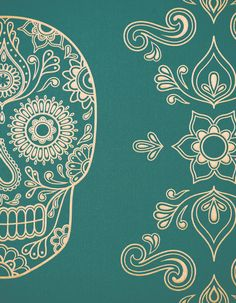 Image of Day of the Dead Sugar Skull Wallpaper - Emerald & Gold