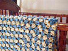 Blue and Cream Crochet Granny Square Baby Afghan by rachelfurlong, $42.00