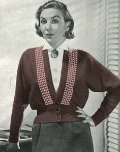 Ladies Dolman Cardigan with Houndstooth Trim PDF Vintage knitting pattern circa 1940's Instant download TroshandTreasure304