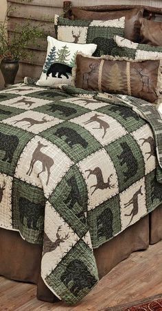 Forest Lodge Bedding | Bear and deer silhouettes highlight panels of forest green and cream on this lightweight microfiber bedding, adding a cozy outdoor touch to your room. Comforters, Quilts, Blanket, Bed, Home, Creature Comforts, Stream Bed, Quilt Sets, Ad Home