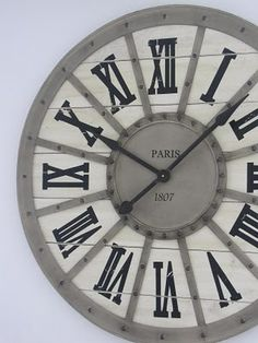 Clock with roman numerals. Need this for my bathroom Diy Clock, Clock Decor, Wall Clocks, The Finest Hours, Hourglass Sand Timer, Sand Timers, Diy House Projects, Antique Clocks, Country Style Homes