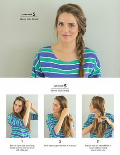 Summer Hairstyles : Messy Side Braid Easy Hairstyles You Can Do In 5 Minutes Photos Cute Side Braids, Pretty Braids, Cool Braids, Braids Easy, Side Braids For Long Hair, Easy Side Braid, Simple Braids, Braid To The Side, Long Hair Casual Updo