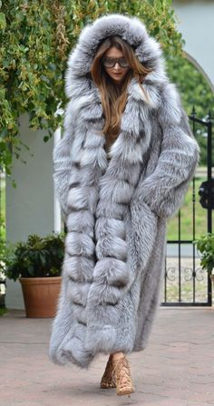 Platinum fox long fur coat hood class- chinchilla sable jacket mink silver