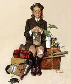 "August Norman Rockwell, ""Home from Camp"", Saturday Evening Post. photo via Norman Rockwell Museum Norman Rockwell Prints, Norman Rockwell Paintings, Caricatures, Illustrations, Illustration Art, American Illustration, Vladimir Nabokov, Saturday Evening Post, Art Moderne"