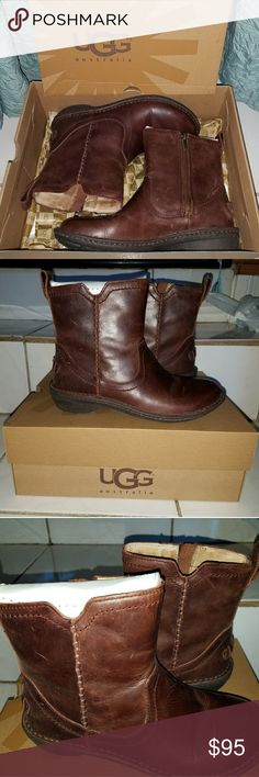NWT UGG Neevah Boots😊👢 ♡NIB! 100% Authentic (pic 7) Chocolate brown leather Neevah style by UGG (color in pics exact) ♡Size 7 and true to size! Fur lined inside and zipper ankle boot! ♡Bought for $150 @ Dillards, feel free to ask any questions or make a reasonable offer! ♡FREE GIFT W/$15 PURCHASE😄 UGG Shoes Ankle Boots & Booties