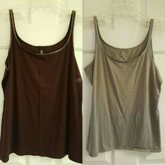 NY&CO Shimmer Cami Collection NY&CO Shimmer Cami Collection.  Cotton cami/tank top with shimmery neckline trim. 95% Cotton. 5% Spandex.  The gray was worn a few times and is wrinkled from being washed. The Burgundy tank is new with tags attached. New York & Company Tops Camisoles