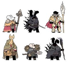 Jake Lawrence's Fantasy Pals. Top row from the left: a chrono mage, a shadow assassin and a valkyrie knight. bottom row from the left: a healer, a farmer and a shadowmancer.