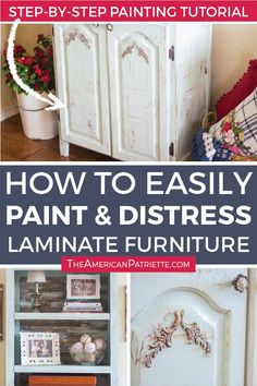 The best step by step tutorial for how to paint laminate furniture and give it a rustic finish without sanding and without priming. This easy DIY process can be done without primer, and the finished product looks rustic and distressed! Particle Board Furniture, Painting Laminate Furniture, Chalk Paint Furniture, How To Distress Furniture, Furniture Design, Pipe Furniture, Furniture Sale, Furniture Projects, Furniture Decor