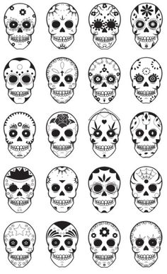 Templates for dia de los muertos, day of the dead, sugar skulls.